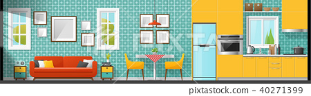 Living room , dining room and kitchen background 40271399
