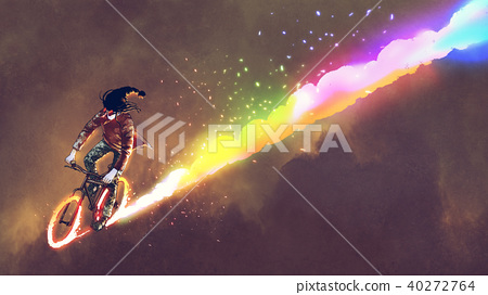 man riding bicycle with burning wheels 40272764