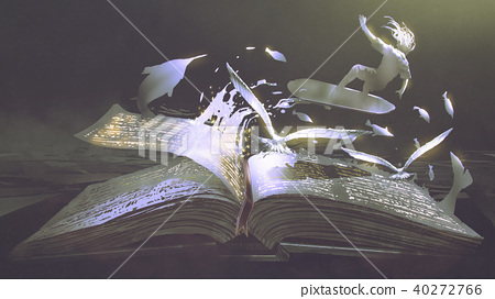opening the magic book on dark background 40272766