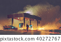 futuristic man burning the gas station 40272767