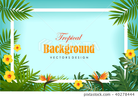 Exotic tropical leaf and frower border background 40278444