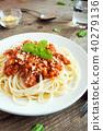 sauce, pasta, meat 40279136
