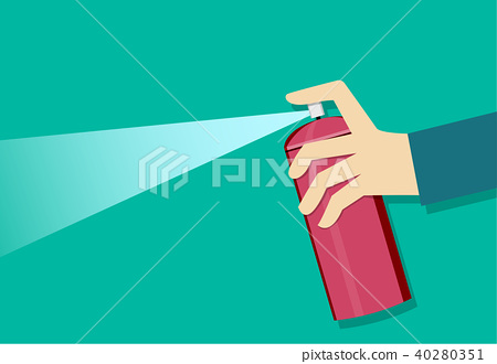 A man holding a spray can and use it, vector art 40280351