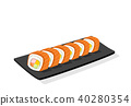 Sliced Salmon sushi roll on black plate, isolated 40280354