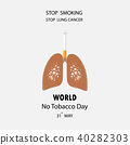 Lung and cigarette icon with Stop Smoking vector  40282303