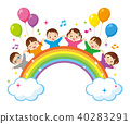 Rainbow and children 40283291