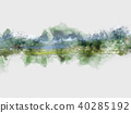 Mountain hill on watercolor painting background. 40285192