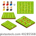 Soccer football field and soccer player isometric  40285568