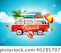 Vector Summer Holiday illustration on blue sky and cloud background. Tropical plants, flower, travel 40285707