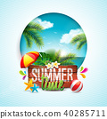 Vector Summer Time Holiday typographic illustration on vintage wood background. Tropical plants 40285711