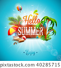 Vector Hello Summer Holiday typographic illustration on vintage wood background. Tropical plants 40285715