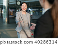 Female business people greeting in a station. 40286314