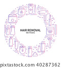 Circle frame with hair removal methods symbols in line style. Shaving sugaring laser waxing 40287362