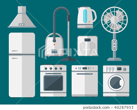 Home Appliances Vector Domestic Household Equipment Kitchen