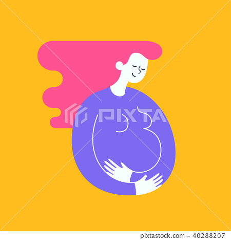 Silhouette of pregnant woman stroking with the hand her belly. Happy motherhood and baby expectation 40288207