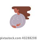 Silhouette of African-American pregnant woman stroking with the hand her belly. Happy motherhood and 40288208