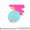 Silhouette of pregnant woman stroking with the hand her belly and talking to her baby. Happy 40288209