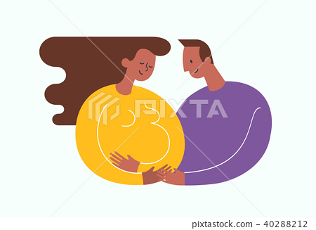 Pregnant African-Americam woman stroking her belly. Happy dad embracing her. Happy motherhood and 40288212