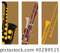 Wind musical instruments cards tools acoustic musician equipment orchestra vector illustration 40289515