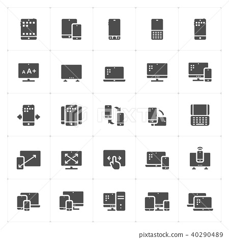 Icon set - device and responsive solid icon style  40290489