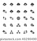 Icon set - network and connectivity solid icon 40290490