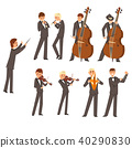 Musicians of symphonic orchestra and conductor, people playing various musical instruments vector 40290830