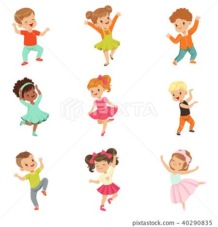 Cute Little Kids Dancing Set Modern And Stock Illustration 40290835 Pixta