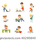 Adorable little kids reading books and working in the garden set, cute preschool children learning 40290840