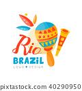 Brazil Rio logo design, bright carnival banner vector Illustration on a white background 40290950