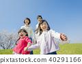 使用在櫻桃開花的銀行的四口之家 40291166