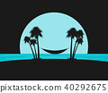 Silhouette of palms with a hammock on the beach 40292675