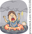 Man Storm Flood Float Illustration 40293106