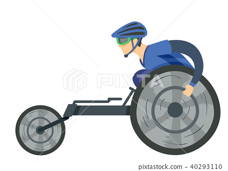 Man Wheelchair Racing Illustration 40293110
