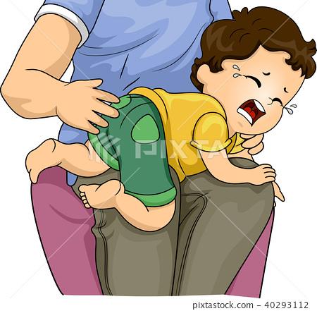 Man Baby Dad Spank Illustration 40293112
