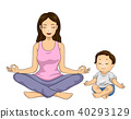 Girl Mom Kid Meditate Illustration 40293129
