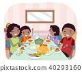 Stickman Family Meal Illustration 40293160