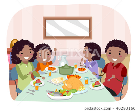 Stickman Family Meal Illustration 40293160