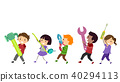 Stickman Kids Construction March Illustration 40294113