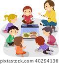 Stickman Kids Observe Turtle Illustration 40294136
