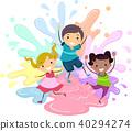 Stickman Kids Paint Splat Jump Illustration 40294274