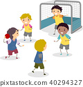 Stickman Kids Boys Handball Illustration 40294327