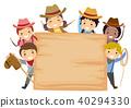 Stickman Kids Cowboy Board Illustration 40294330