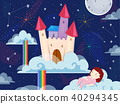Kid Girl Sleep Dreamland Castle Illustration 40294345