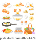 Egg vector easter food and healthy eggwhite or yolk in egg-cup or cooking omelette in frying pan for 40294474