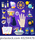 Fortune telling vector fortune-telling or fortunate magic of magician with cards and candles 40294476