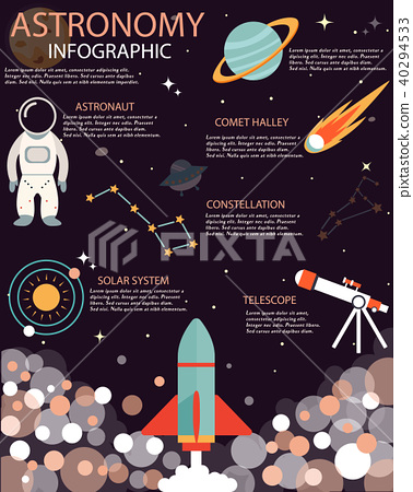 The Space info poster, brochure with flat  icons 40294533