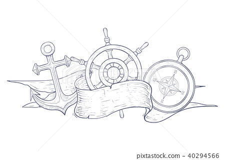 Anchor, steering wheel and compass. Decorated with blank ribbon banner. Hand drawn sketch 40294566
