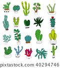 Cactus collection hand-drawn. Sketchy style  40294746