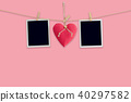 Blank instant photos and red heart hanging pastel 40297582