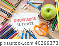 Knowledge is power text on sketching notebook  40299373